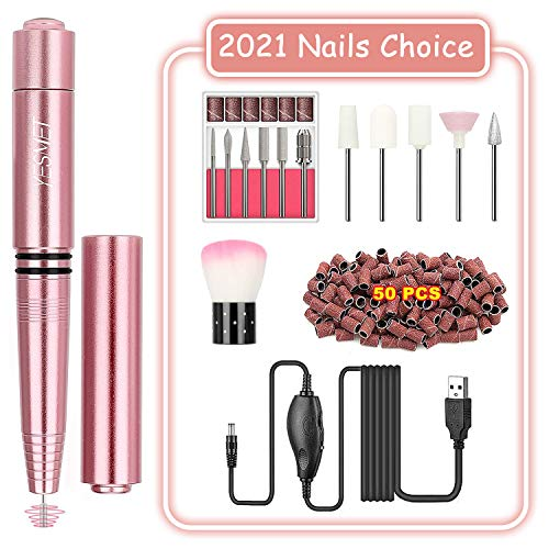 YESMET Electric Nail Drill, Portable Professional Electric Nail Files, Upgraded USB Nails Drill Kit for Acrylic Nails, Gel Nails, Manicure Pedicure Polishing Shape Tools for Women Girls (Pink)