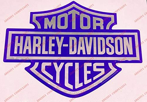Stemma logo decal HARLEY DAVIDSON, classic logo, adesivo resinato, effetto 3D. Per SERBATOIO o CASCO. Blu-Cromo