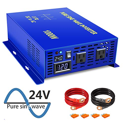 XYZ INVT 1000W Continuous/2000W Peak Pure Sine Wave Inverter DC 24V to AC 110V Car Power Inverter with Dual AC Outlets(1000w24v)