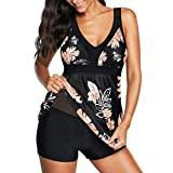 Zando One Piece Bathing Suits for Women Tummy Control Swimsuits Womens Swimming Suits Swimwear Slimming Swim Dress Black Pink Floral 10-12