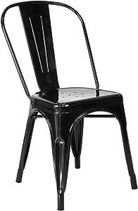 Vaukura Chaise Tolix (Pack 4) – Chaise Industrielle métal Brillant (Noir)