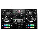 Hercules DJ - Mesa de mezclas de DJ Control Inpulse 500 con 2 platos + soporte para portátil Keepdrum HALS-20