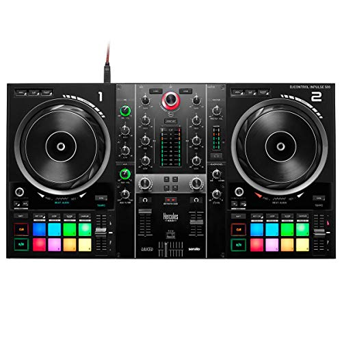 Hercules DJControl Inpulse 500 - Controller DJ a 2 piani + supporto per portatile Keepdrum HALS-20