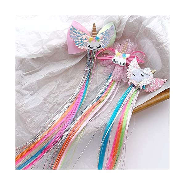 Sunormi 4 Pcs Multi-Colors Princess Kids Hair Clips In 15 Inch Straight Synthetic Hair Extensions Unicorn Butterfly Ponytails Hair Hairpieces For Girls Daily Dress Up 4