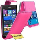 FoneExpert Nokia Lumia 735 730 - Etui Housse Coque en Cuir Portefeuille Wallet Case Cover pour Nokia Lumia 735 730 + Film de Protection d'Ecran (Flip Rose)