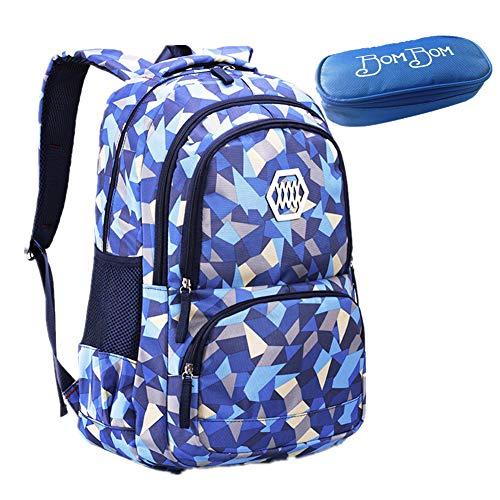 Bom Bom Rucksack Schultasche junge Mädchen Teen Kinder große Schule Rucksack (Blau)