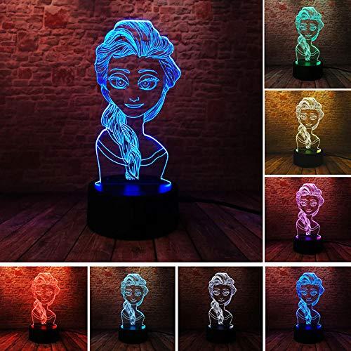 Lámpara De Ilusión 3D Luz De Noche Led Princess Doll Modelo 7 Color Changing Sleeping Elsa Anime Figura Juguetes Para Niñas Gif Para Niños Cumpleaños O Regalos De Vacaciones