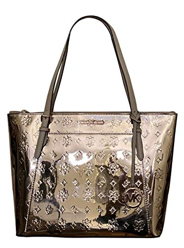Michael Kors Ciara Large Top Zip Mirror Metallic Tote (Rose Gold)