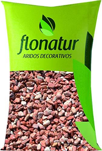 flonatur Piedra Canto rodado Rojas 25Kg. tamaño 20/40. Piedras Decorativas para jardín o Exterior en Color Rojo