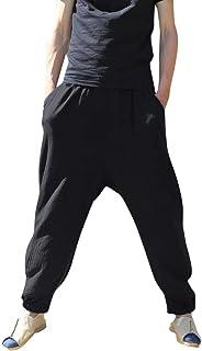 Luguojun メンズ ロングパンツ ゴルフ登山パンツ 運動ズボン 運動パンツ スポーツパンツ 麻パンツ ワイドパンツ 安い ファッション カジュアル 通気性 無地 ゆったり 吸汗速乾 薄い レジャー ショーツ ジム トレーニング ウェストゴム 快適 日常