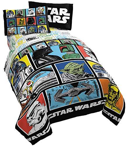 Star Wars Classic Grid 5 Piece Full Bed Set - Includes Reversible Comforter & Sheet Set - Bedding Features Luke Skywalker - Super Soft Fade Resistant Microfiber (Official Star Wars Product)
