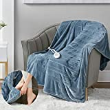 Microplush Electric Blanket with Foot Pocket White 50x62 | Heated Lap Throw for Home or Office - Keeps Toes Toasty | 3 Heat Settings with Auto Shut Off | 6Ft Power Cord | Washable