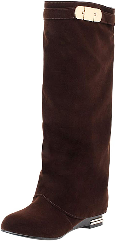 RizaBina Women Flat Long Boots Pull On