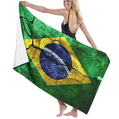 Grande Suave Toalla de Baño Manta,Bandera de Textura oxidada de Brasil, oxidada, Concepto de consecuencias del terremoto,Hoja de Baño Toalla de Playa por la Familia Viaje Nadando Deportes,52' x 32'