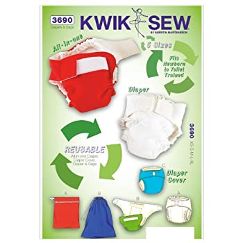 Image: Kwik Sew Diapers Sewing Pattern, Diaper Cover | Includes pattern pieces and sewing instructions