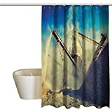 Industrial Cool Shower Curtain Rustic Rock Stone Crushing Machine Open Pit Mining Quarry Sand Dust Photo Bathroom Decor Durable W55 x L72 Inch Blue Pale Yellow Black