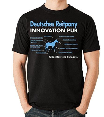 Siviwonder Unisex T-Shirt Innovation - DEUTSCHES REITPONY Pony - Pferde Fun reiten schwarz S