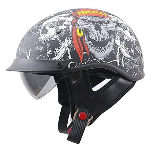 BCBKD DOT Approved Motorcycle Half Helmet with Sun Visor,Vintage Motorbike Half Size Helmet for Men and Women,Novelty Cool Skull Pattern Half Shell Helmet for Cruiser Moped Scooter Chopper