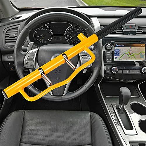 Antirrobo universal Protección antirrobo mediante bloqueo de volante, para turismos, camiones, caravanas, volantes de coche, llave de seguridad, color amarillo + 2 llaves de seguridad
