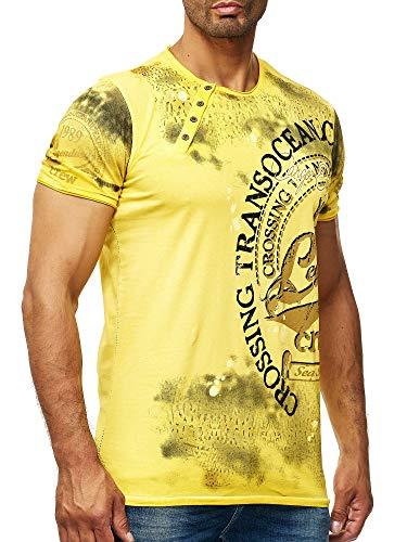 Batik T-Shirt Stretch Herren Designer Shirt Verwaschen Printed Wow S - XXL 045, Farbe:Gelb, Größe:L