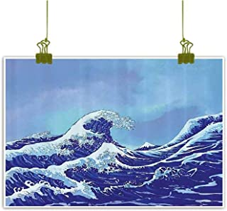 Sumilace Art Print/Poster Oil Paintings Reproduction, Big Tsunami Ocean Decor with Blue Sky Art Home Wall Decorations - 23