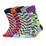 Stynice Bunte Herren Socken 4/5 Paar Kariert Gemusterte Baumwollsocken Bunt Socken Mode Straßen - Gr.36-47