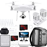 DJI Phantom 4 Pro Plus Quadcopter Drone with Deluxe Controller Bundle with Xtra Capacity Battery, 2X 32GB Memory Card, Hardshell Backpack, Set of 4 Propeller Guards, Gadget Bag and Charging Hub