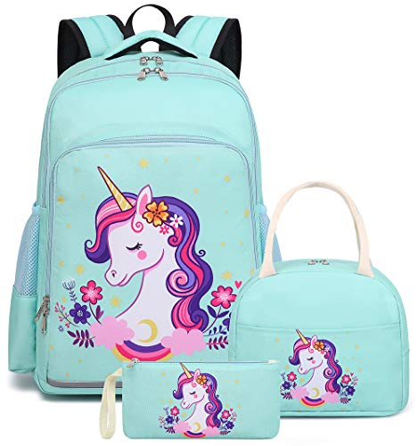School Backpack Cute Teens Girls Kids School Bags Travel Bookbag with Laptop Sleeve (Unicorn 0028 Water Blue)