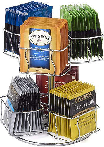 NiftyTea Bag Spinning Carousel – 6 Compartments, Up to 60 Tea Bags Storage, Spins 360-Degrees, Lazy Susan Platform, Modern Chrome Design, Home or Office Kitchen Counter Organizer