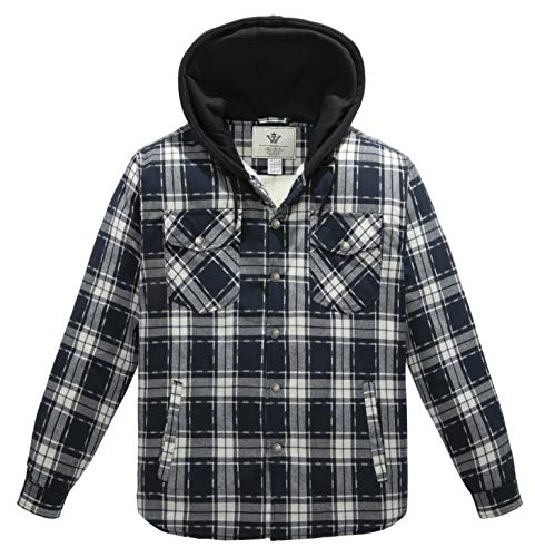WenVen Men's Long Sleeve Quilted Lined Flannel Shirt Jacket with Hood(Blue White,XXL