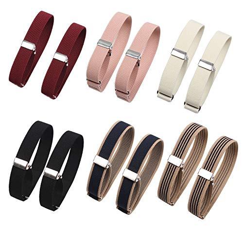 12Pcs/6 Pairs Unisex Elastic Adjustable Armbands Anti-Slip Shirt Garters Sleeve Holders Armbands Sport Armband Strap for Women and Men, 6 Colors