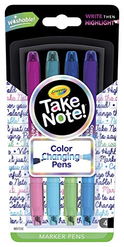 Crayola Color Changing Pens, Bullet Journal Supplies, 8 Colors, 4Count, Multicolor