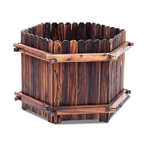 FTFTO Productos para el hogar Jardinera de Madera para jardín Caja de Jardinera Vintage con Orificio de Drenaje Inferior para Plantas al Aire Libre, Vegetales, Hierbas, Flores (tamaño: 60 cm x 35 cm)