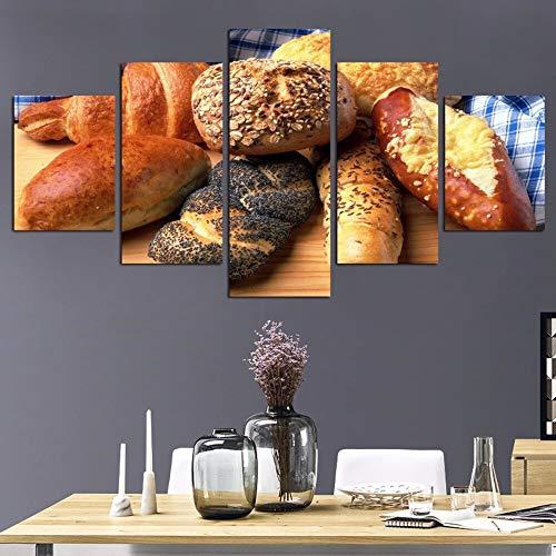 hllhpc (geen frame) woonkamer of keuken, HD-bedrukt, modulair, canvas, lekker brood werk schilderij decoratie thuis foto (40 x 60 x 80 x 40 x 100 cm
