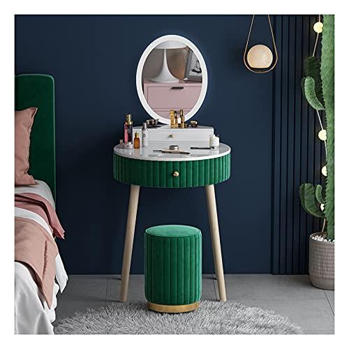 Tocador de Maquillaje Mesa de tocador for Muebles de Dormitorio Mini cómoda Mesa de Lujo única Mesa de Maquillaje de Lujo con Mirrorc Tocadores de Dormitorio (Color : Green)