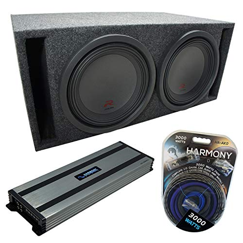 """Universal Car Stereo Slotted S Port Dual 12"""" Alpine Bundle Type R R-W12D2 Sub Box Enclosure with Harmony HA-A1500.1 Amplifier & 0GA Amp Kit"""