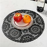 tovaglietta 4pcs round placemats ristorante decorazioni in PVC decorazione manuale tappetino da pranzo anti-hot tavolo da pranzo linea bistecca piastra Durevole (Color : Black)