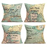 Asamour Geography Quotes Theme Throw Pillow Covers Compass Map Art Lettering Throw Pillow Cushion Cover Protector Home Decorative Pillow Case for Sofa Couch 18x18 inches Set of 4,Travel,Green