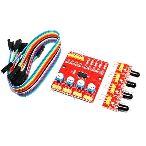 HiLetgo Four-way Infrared Tracing Module 4 Channel Infrared Tracking Module Obstacle Avoidance Sensor 3.3V-5V for Car Robot
