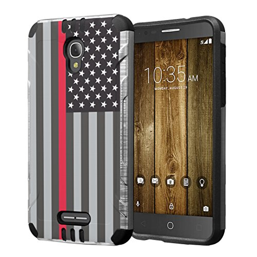 Alcatel Fierce 4 / Allura/Pop 4 Plus Case, Hybrid Dual Layer Silm Defender Armor Case (Silver & Black) Brushed Finishing for Alcatel Fierce 4 / Allura/Pop 4 Plus - (USA Flag Red Line)