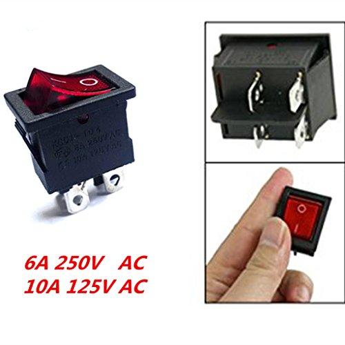 F Fityle Interruptor DPST 10x con Indicador Rojo de 4 Pines 6a / 10A 250V / 125V AC