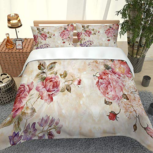 EWFIFZ Duvet Cover 260X240Cm 3D Peony Print Duvet Cover Set 3 Pieces Microfiber Soft Comfortable Bedding Set With 2 Pillowcase For Girls Boys Adult Fashion Comforter Cover