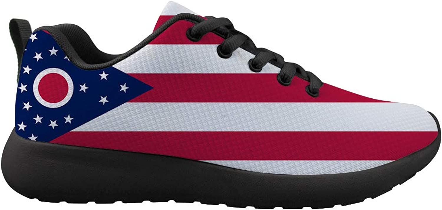 Owaheson Cushioning Sneaker Trail Running shoes Mens Womens Ohio Flag