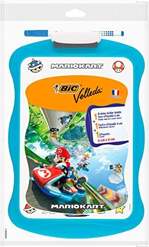 BIC Mario Kart Velleda Ardoise Ecolier Double Face Effaçable à Sec (20x31 cm) avec Feutre Effaçable à Sec et Effacette - Bleu, Lot de 1
