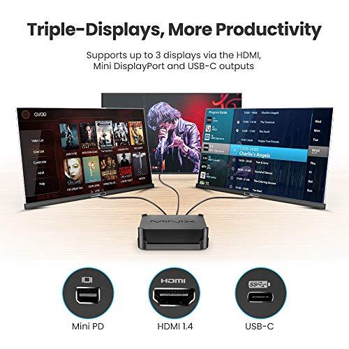 MINIX N42C-4 Plus Mini PC, 4GB/64GB/Upgrade RAM und SSD Intel Pentium Windows 10 Pro,Dual-Band Wi-Fi,4K @ 60 Hz,Triple Display,USB-C,Auto Power On für industrielle,kommerzielle