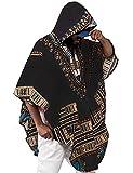 Daupanzees Mens Hip Hop Tribal Style African Dashiki Hoodie Sweatshirts Prints Shirts Cloak Cape Black