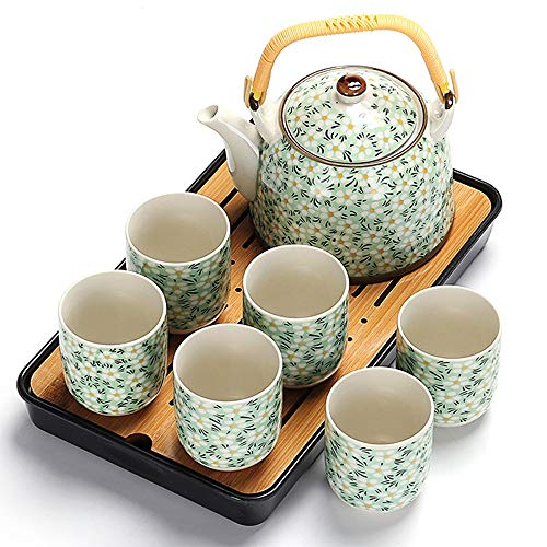Marceooselm Ceramica Set da tè in Porcellana Tea Set, teiera e Il Vassoio del tè, Regalo Creativo Ideale (Color : Black)