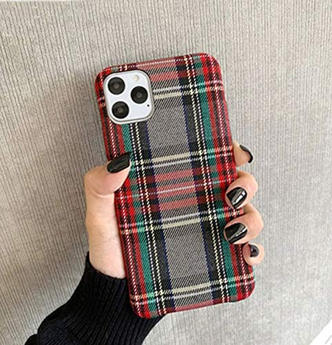 Mixneer Warm Flannel Plaid Cloth Phone Case Simple Plush Fabric Phone Case Compatible with iPhone 11 12 Mini Pro Max SE 2020 7 8 6 6S Plus XR X XS Cover (Compatible with iPhone 11, Gray)