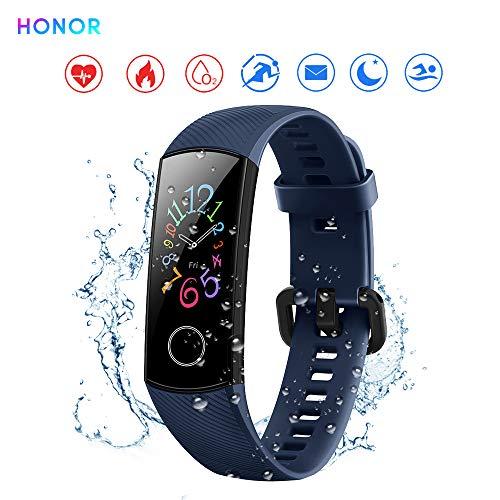 "Honor Band 5 Reloj Inteligente 0.95""Gran Pantalla a Todo Color AMOLED Fitness Pulsera Inteligente Monitoreo Inteligente 5ATM a Prueba de Agua (Azul)"