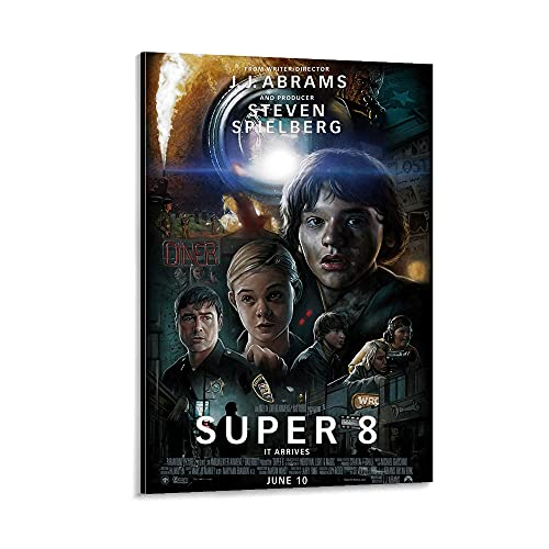 ZHUZHE Thriller Movie Poster Super 8 (2011) Room Poster Canvas Poster Living Room Wall Decoration Bedroom Painting Office Dormitory Mural Exquisite Birthday Gift 16x24inch(40x60cm)